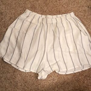 Show Me Your Mumu white and blue striped shorts
